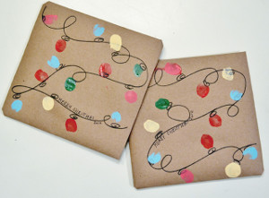Finger Painted Christmas Lights Wrap