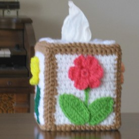 Crochet Floral Tissue Box Cover 2