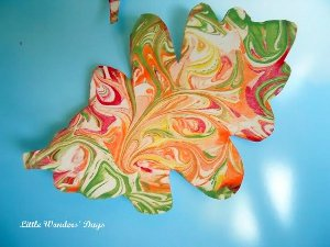 Marbled Cardstock Leaves