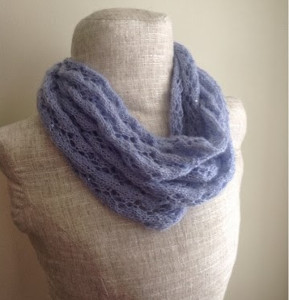 Knitting Pattern Lace Infinity Scarf : Perfect in Periwinkle Lace Infinity Scarf ...