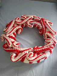 Candy Cane Crochet Wreath