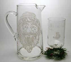Glass Santa Pitcher