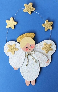 Gold Stars Angel Ornament