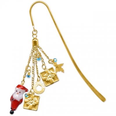 Santa and Presents Beaded Bookmark