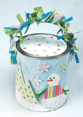 Snowman Paint Can Gift Box