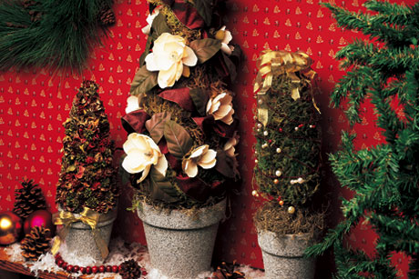 Christmas Mantle Topiaries