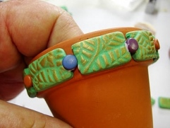 Leaf Stamped Clay Pot