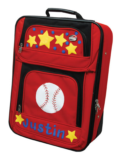 Painted Baseball Name Suitcase