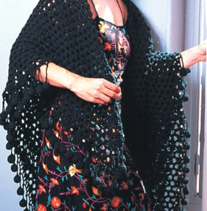 Crochet Black Mesh Shawl