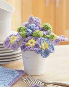 Crochet Pansies Bouquet