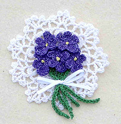 Violets Pin Crochet Flower