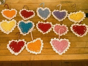 Mini Crochet Heart Ornaments