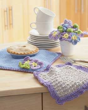 Crochet Pansy Dishcloth and Potholder