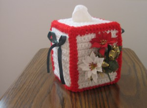 flowers of christmas tissue box cover