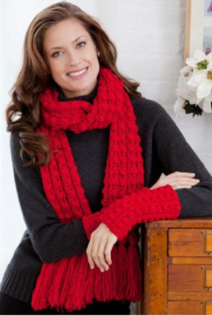 Shimmering Lacy Bobble Scarf and Wristlets
