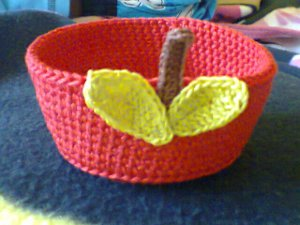 Crocheted Apple Trinket Bowl