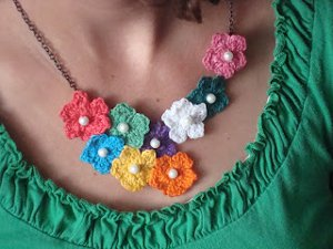 Crocheted Flower Statement Necklace