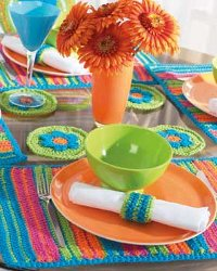 Colorful Striped Table Setting