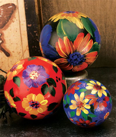 Decorative Floral Painted Balls