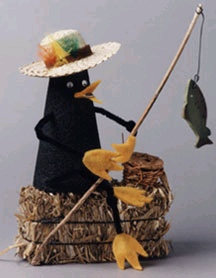 Fishing Crow Figurine