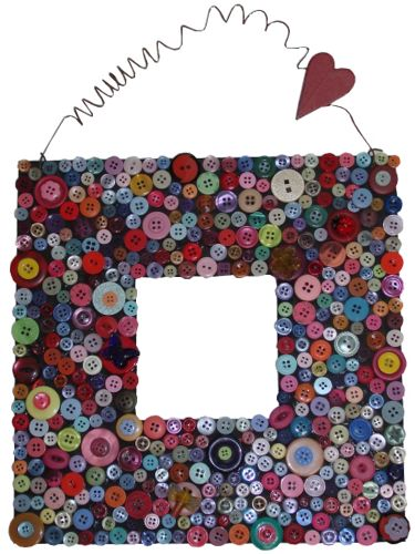 Button Decorated Mirro Frame