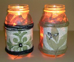 Recycled Decoupage Luminary Jars
