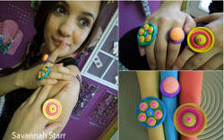 Colorful Button Rings