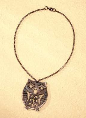 Distressed Wooden Owl Pendant
