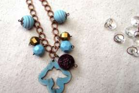Happy Blue Bird Necklace and Earrings