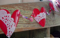 Red Plastic Cup Heart Garland
