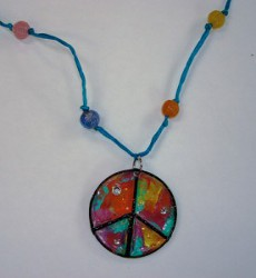 Recycled Pizza Peace Pendant