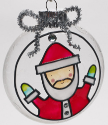 Santa Glass Ornament