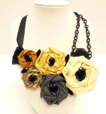 Roses Ribbon and Chain Bib Necklace