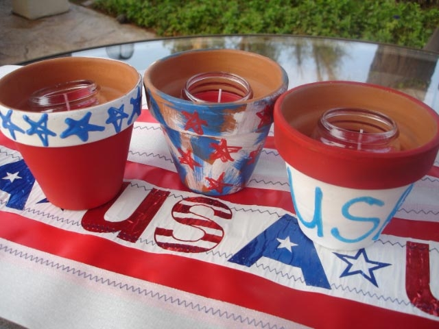 July 4th Painted Candle Holder