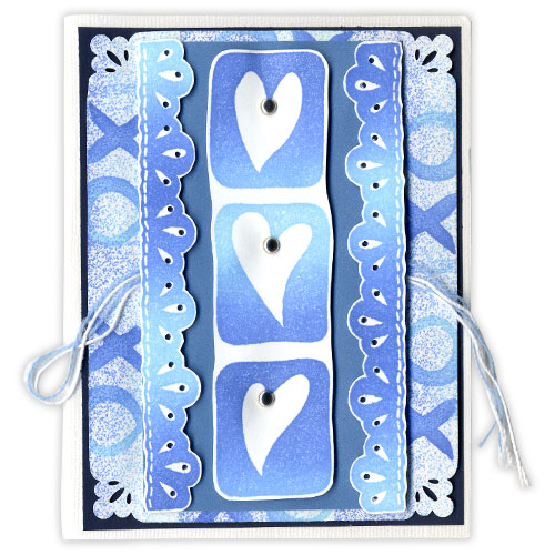 Blue Valentine Stamped Card