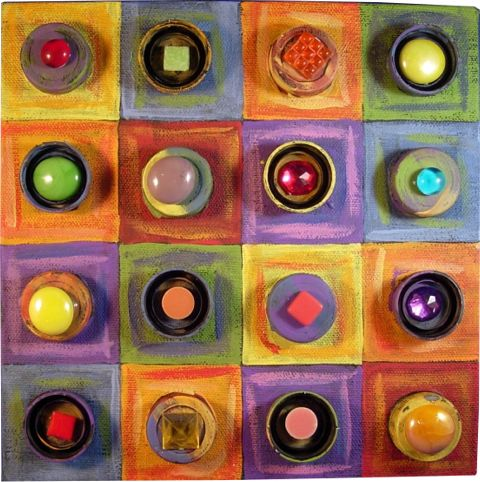 Plastic Bottle Lids on Canvas