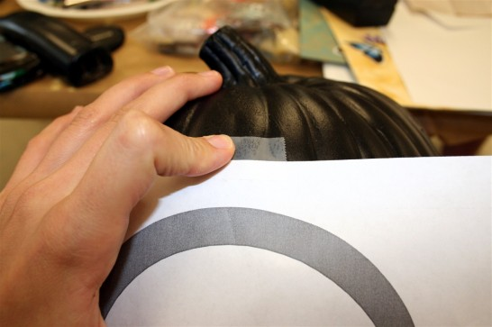 Tape Pattern to Pumpkin