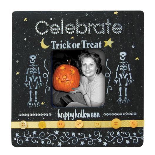 painted Halloween picture frame with skeletons