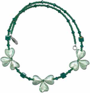 Beaded Shamrock Necklace
