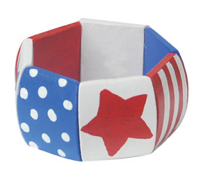 Patriotic Painted Wood Bangle