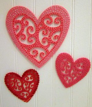 swirly hearts with sparkly parts
