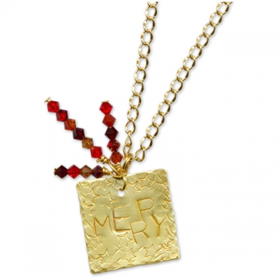 Merry Stamped Christmas Necklace