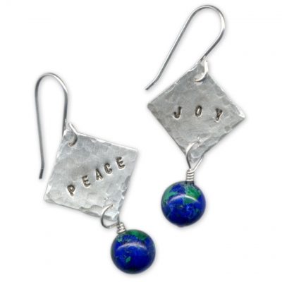 Peace and Joy Stamped Earrings