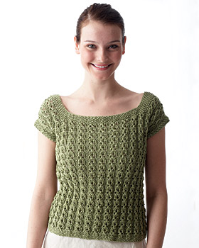 Knitting Patterns For Tops Free : Eyelet Top Knitting Pattern FaveCrafts.com