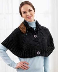 Knit Poncho with Buttons