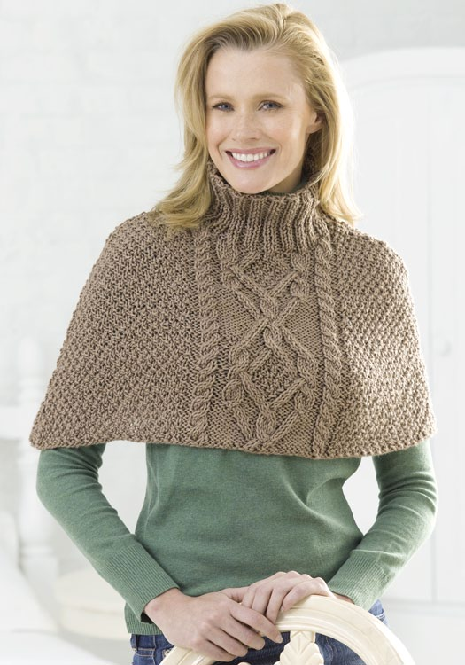 Knit Cable Half Poncho
