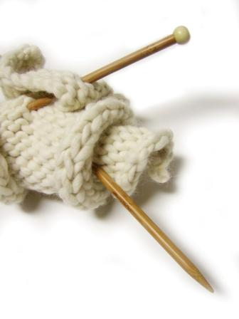 Knitting Needles and Work