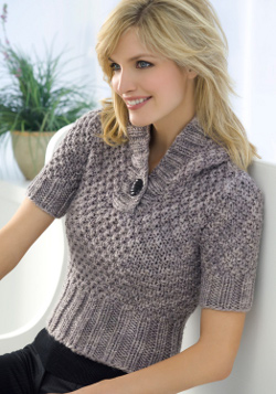 Knitting Patterns For Hooded Sweaters : Short Sleeve Hooded Sweater Knitting Pattern FaveCrafts.com