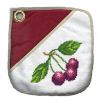 Cherries Cross Stitch Oven Mitt
