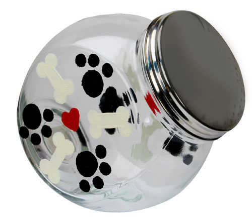 Glass Dog  Treat Jar